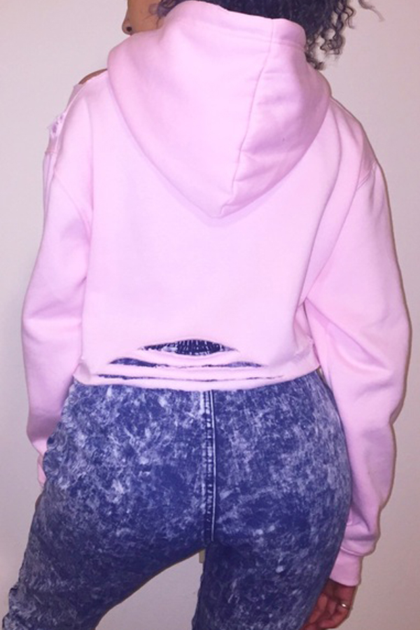 Leisure Long Sleeves Printed Hollow-out Pink Cotton Blends Hoodies