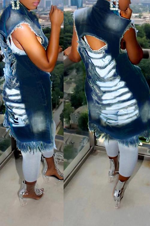 Trendy Turndown Collar Broken Holes Dark  Blue Denim Long Coat