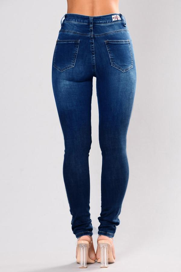 Stylish Broken Holes Dark Blue Denim Pants