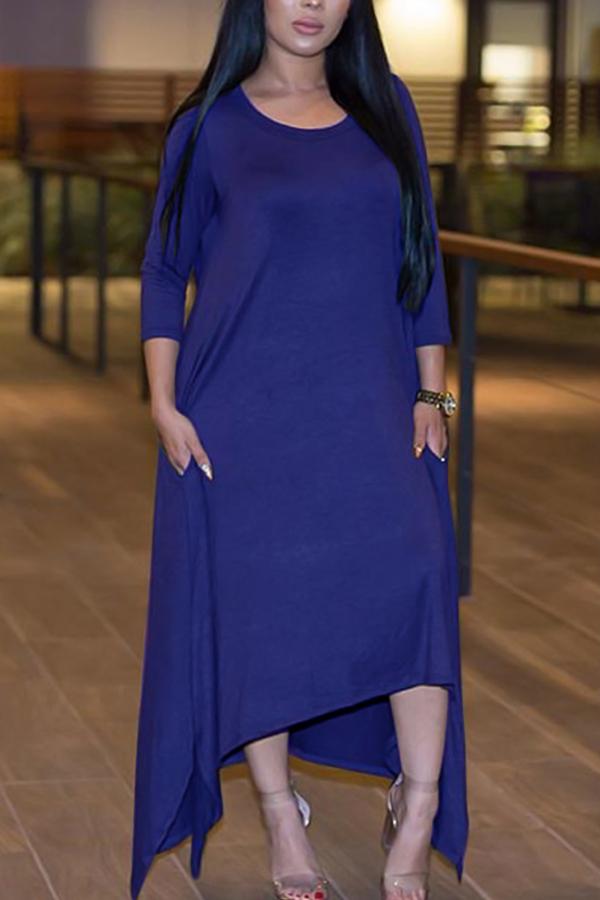 Leisure Round Neck Half Sleeve Asymétrique Royalblue Polyester Ankle Length Dress