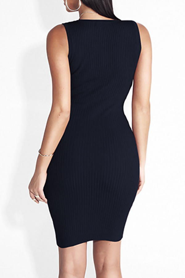 Euramerican Round Neck Buttons Décoration Black Cotton Gaine Mini Dress