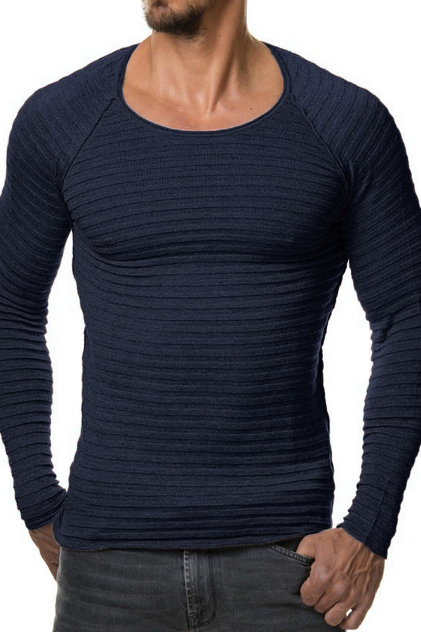 Euramerican Round Neck Long Sleeves Navy Blue Acrylic Sweater