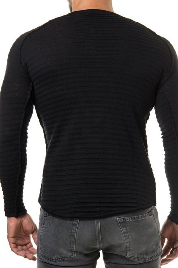Euramerican Round Neck Long Sleeves Black Acrylic Sweater for men