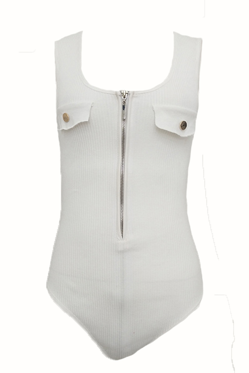 Sexy Hollow-out Zipper Design White Cotton One-piece Skinny Jumpsuits