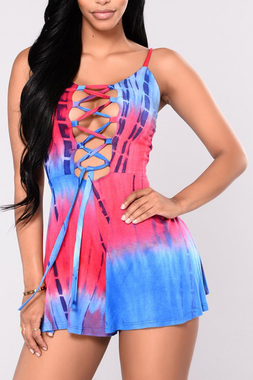 Sexy V Neck Lace-up Hollow-out Blue Cotton One-piece Jumpsuits