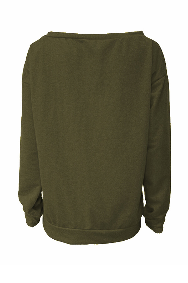 Lovely Leisure Round Neck Long Sleeves Letters Printing Army Green Cotton Pullover