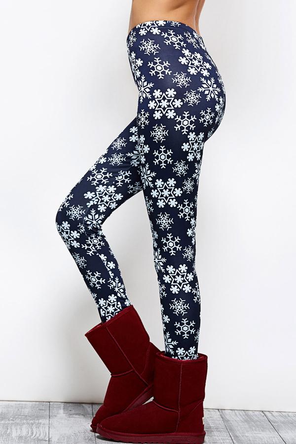 Euramerican High Taille Schneeflocken Printing Navy Blue Polyester Leggings