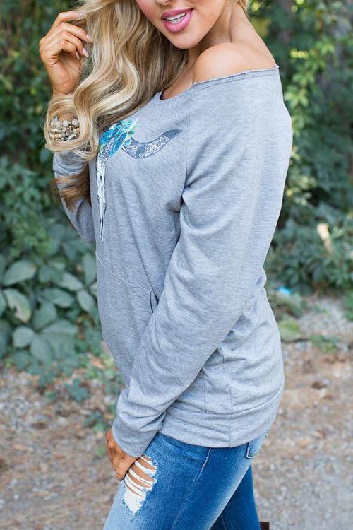 Leisure Dew Shoulder Printed Grey Cotton Blends Pullovers<br>