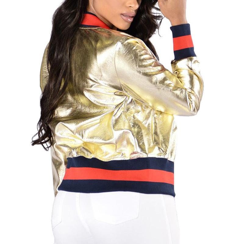 Stylish Mandarin Collar Long Sleeves Zipper Design Gold PU Jacket