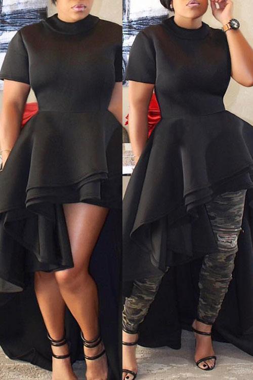 Stylish Mandarin Kragen Asymmetrische Falbala Design Schwarz Polyester Mid Calf Kleid