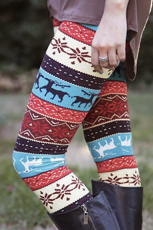Christmas Elk Print Casual Leggings(Non Positioning Printing)