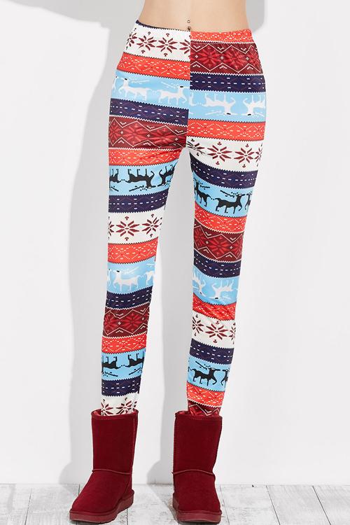 Christmas Elk Print Casual Leggings(Non Positioning Printing)