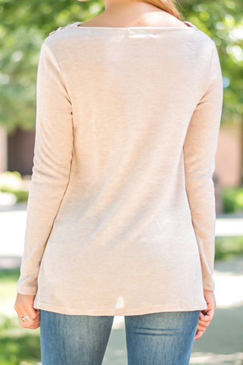 Long Sleeves Irregular Hem T-shirt