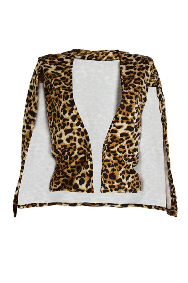 Stylish Leopard Print Polyester Blazer