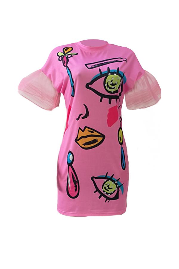 Стильный Шею С Коротким Рукавом Печатных Розовый Полиэстер Оболочка Мини-платье
