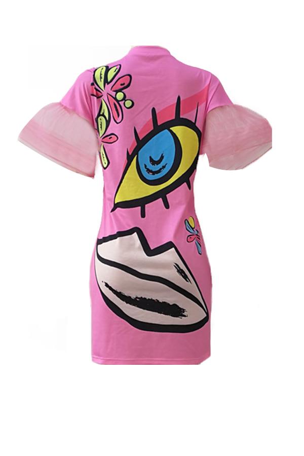 Euramerican Rundhals Kurzarm gedruckt Rosa Polyester Mantel Mini Kleid