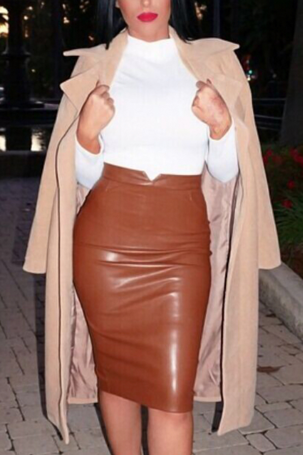 Trendy High Taille Kaffee Lederscheide knielangen Röcke