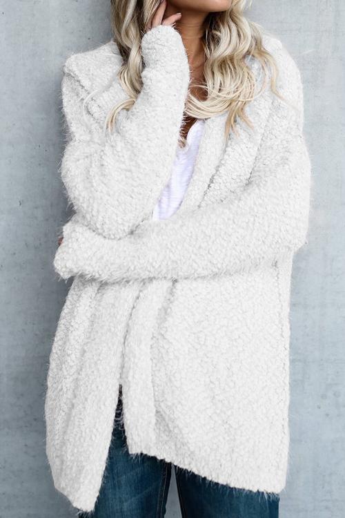 Lovely Stylish Hooded Collar White Wool Coat