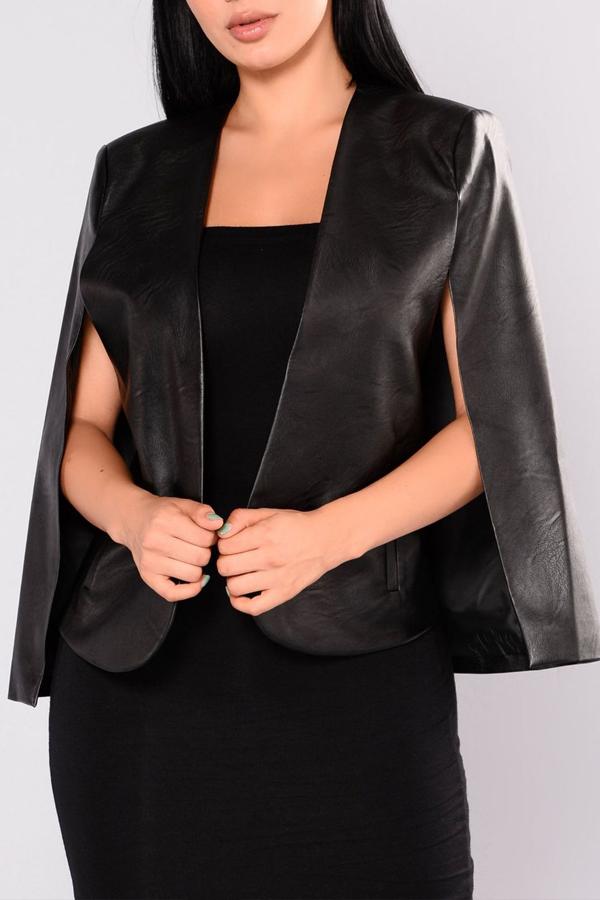 PU V Neck Sleeveless single breasted Regular Coat&Jacket
