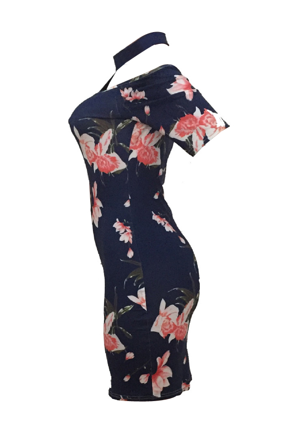 Charming Turtleneck Printed Hollow-out Navy Blue Milk Fiber Sheath Mini Dress