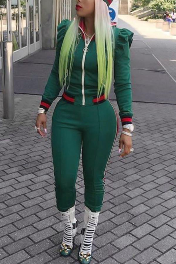 Cuello Redondo De Manga Larga Con Diseño De Cremallera, Pantalones De Dos Piezas De Algodón Verde