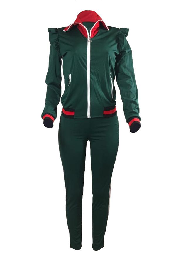 Leisure Turndown Collar Mangas compridas Zipper Design Green Cotton Conjunto de calças de duas peças