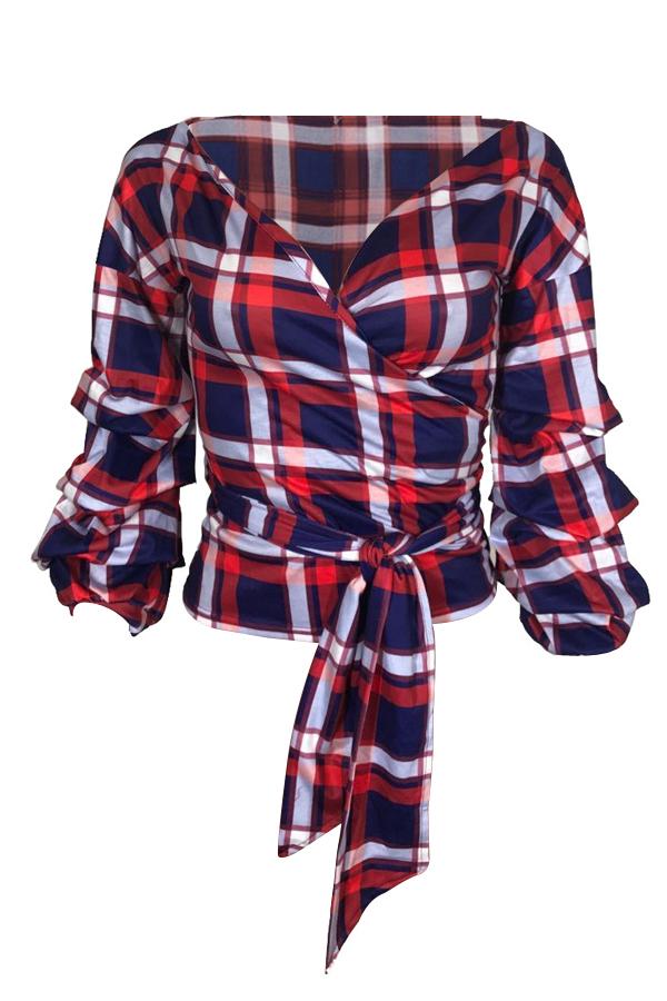 Cuello En V De Moda Rocín Hombro Cuadros Camisas De Poliéster Rojo