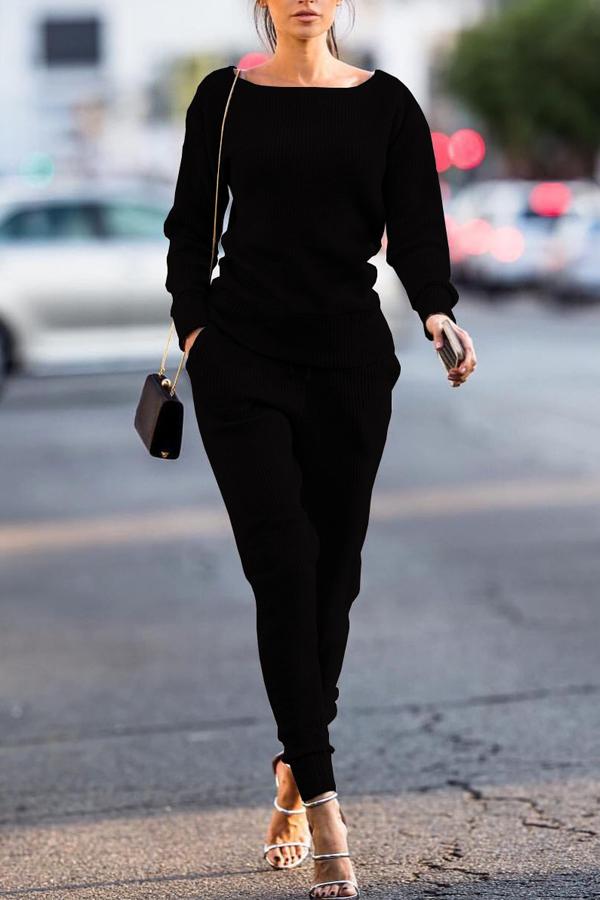 Black Cotton Pants Plain O neck Long Sleeve Casual Two Pieces<br>