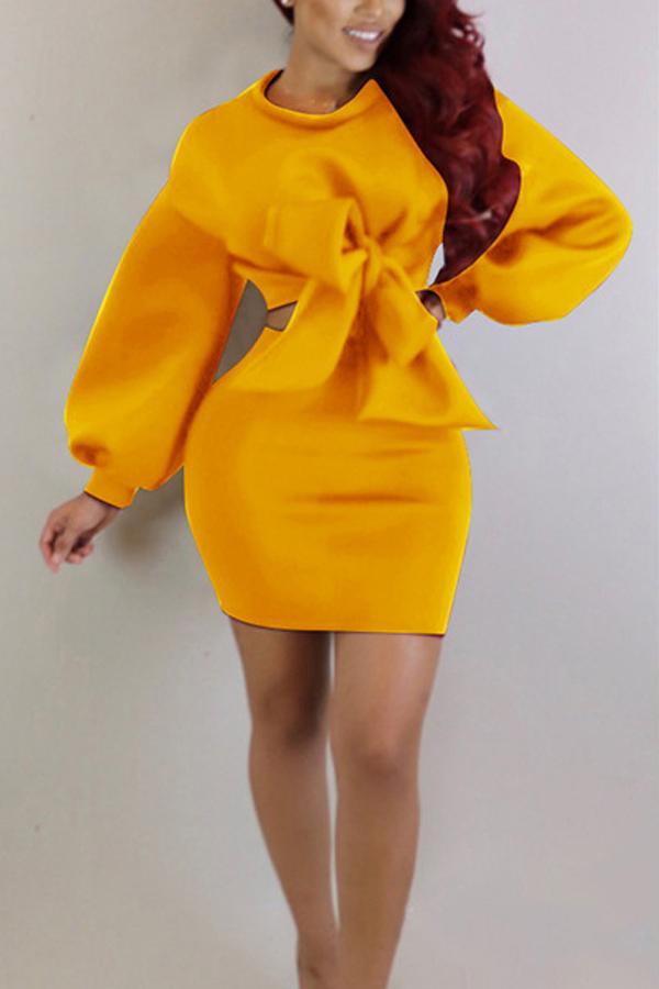 Yellow cotton skirt plain o neck long sleeve casual two for Plain yellow long sleeve t shirt