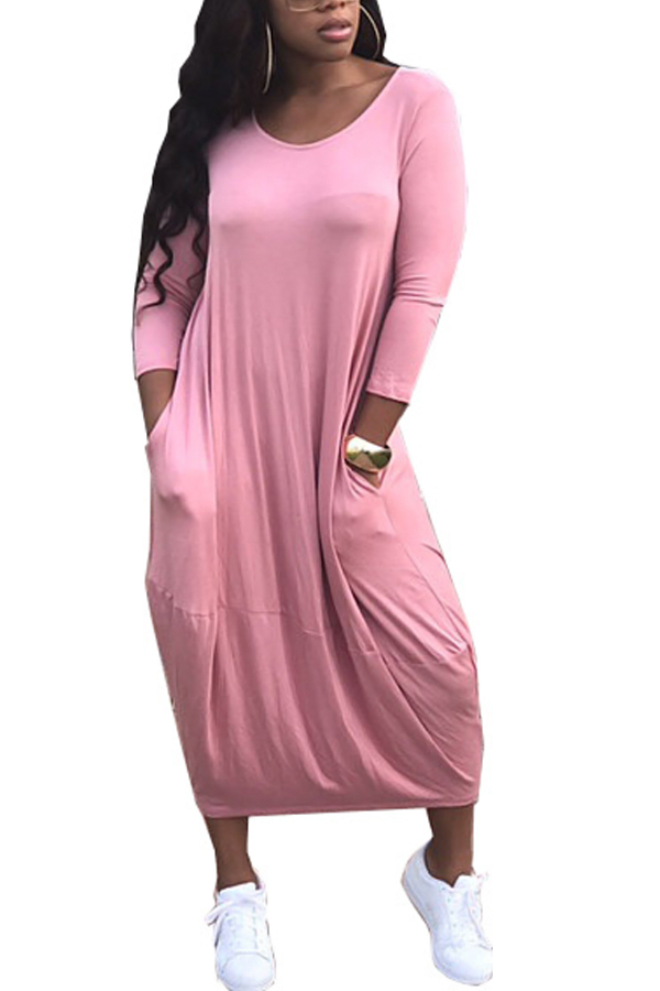 Polyester Casual O neck Cap Sleeve Long Sleeve Lantern skirt Mid Calf Dresses Dresses <br><br>
