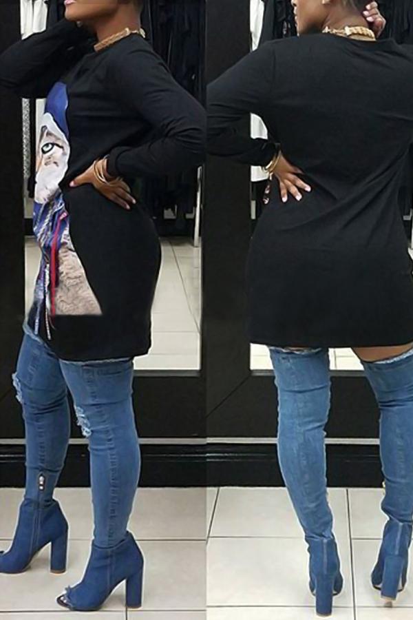 Poliéster Casual O neck Cap Sleeve Long Sleeve Straight Mini Dresses