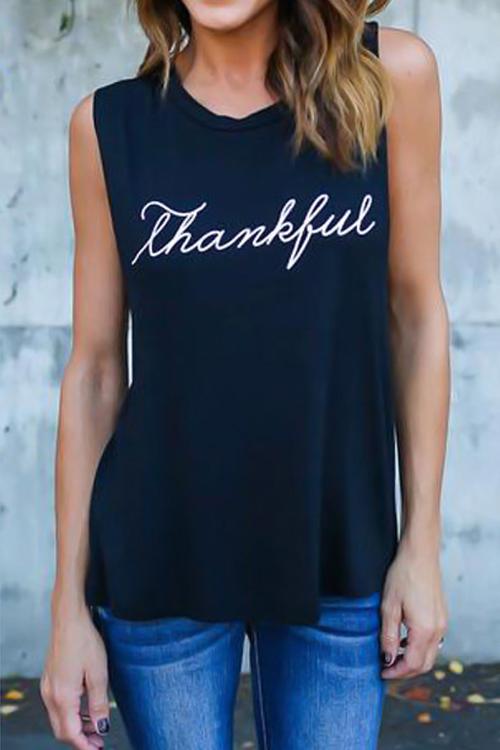 Lovely Leisure Round Neck Letters Printing Black Blending T-shirt
