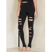 Casual High Waist Broken Holes Black Cotton Blends