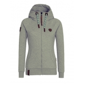 Casual V Neck Long Sleeves Zipper Design Light Grey Cotton Hoodies Coat