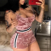 Lovely Sexy U-shaped Neck Patchwork Pink Velvet Two-piece Shorts Set