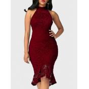 Trendy Round Neck Lace Trim Patchwork Wine Red Sheath Mid Calf Dress