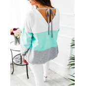 Leisure Round Neck Patchwork Blue Cotton Blends To