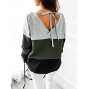 Leisure Round Neck Patchwork Green Cotton Blends T