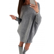 Trendy Dew Shoulder Grey Knitting Sweaters