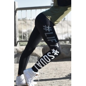 Leisure Elastic Waist Letters Printed Black Polyes