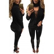 Sexy Deep V Neck Hollow-out Black Knitting Sweater
