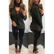 Sexy Deep V Neck Hollow-out Green Knitting Sweater