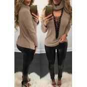Sexy Deep V Neck Hollow-out Khaki Knitting Sweater