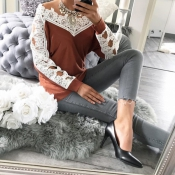 Leisure Long Sleeves Lace Trim Patchwork Orange Co