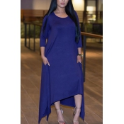 Leisure Round Neck Half Sleeve Asymétrique Royalblue Polyester Ankle Length Dress