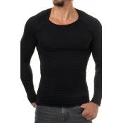 Euramerican Round Neck Long Sleeves Black Acrylic Sweater