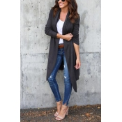Leisure Long Sleeves Dark Grey Cotton Cardigans