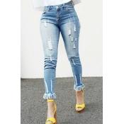 Stylish High Waist Tassel Design Blue Denim Pants
