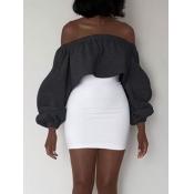 Leisure Dew Shoulder Dark Grey Polyester Gaine Mini-robe