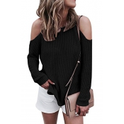 Leisure Round Neck Hollow-out Black Cotton Blends